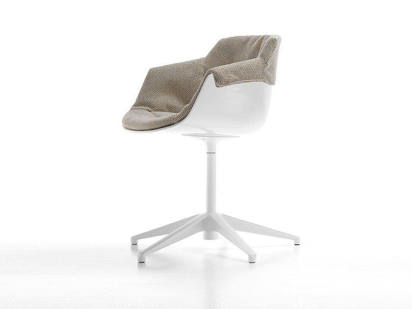 Design upholstered plastic chair with 5-spoke base with armrests FLOW SLIM | Chair with 5-spoke base - MDF Italia