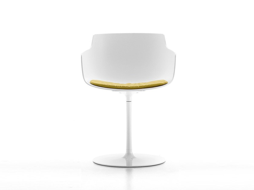 Swivel polycarbonate chair with armrests FLOW SLIM | Swivel chair by MDF Italia
