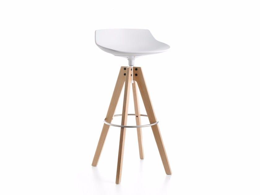 High swivel trestle-based stool FLOW STOOL   High stool - MDF Italia