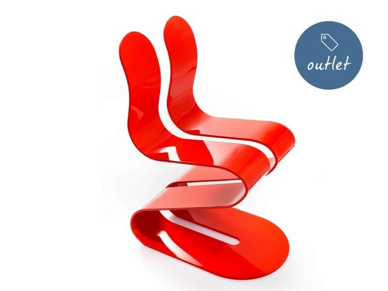 Sedia impilabile in alluminio FLUID RIBBON | Sedia laccata - Lamberti Decor
