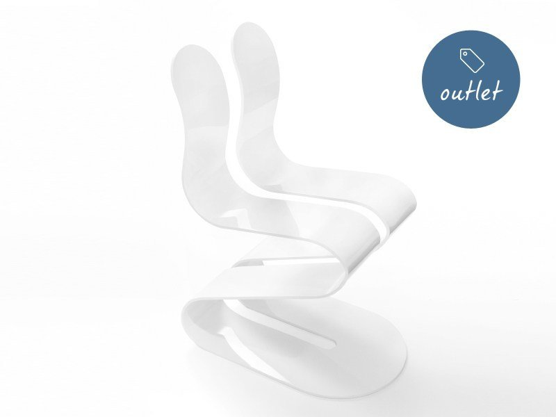 Stackable aluminium chair FLUID RIBBON | Lacquered chair - Lamberti Decor