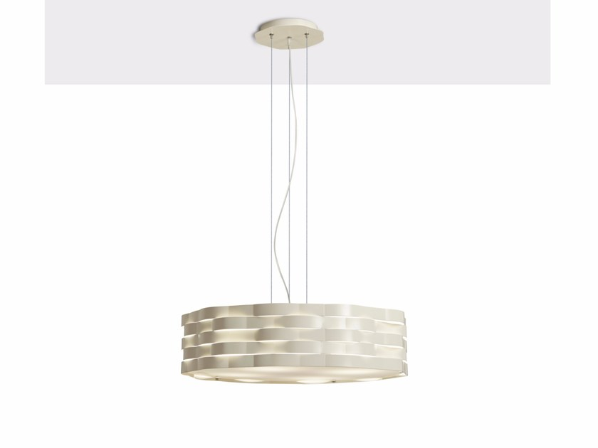 Direct-indirect light powder coated steel pendant lamp FLUTTI | Pendant lamp - Gibas