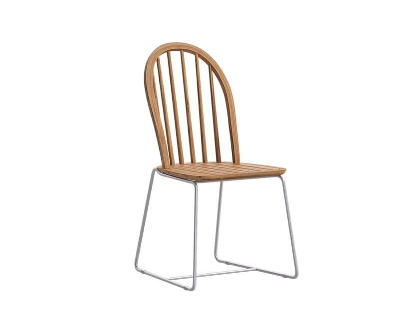Sled base teak garden chair FLY | Sled base chair - Atmosphera