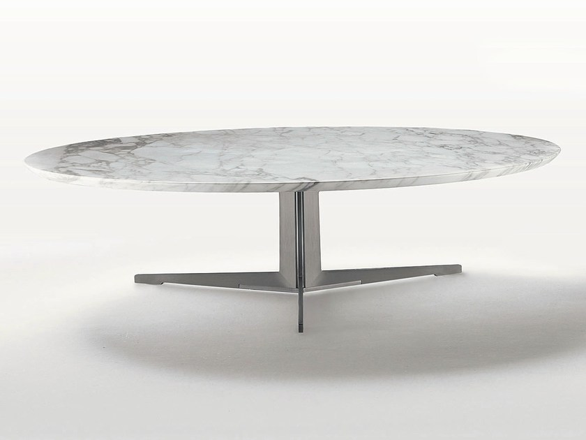 Low oval marble coffee table FLY | Oval coffee table - FLEXFORM