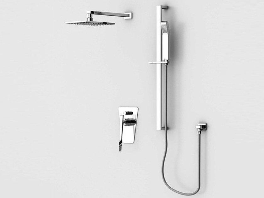 Shower wallbar with hand shower with mixer tap with overhead shower FLY | Shower wallbar - Gattoni Rubinetteria