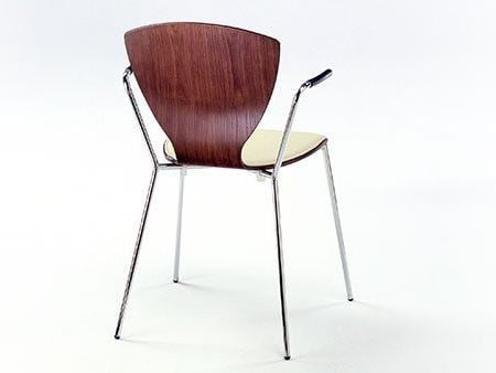 Wood veneer chair with armrests FLY | Fabric chair - Danerka