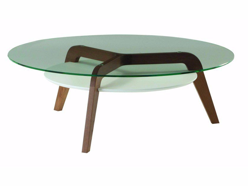 Round glass coffee table for living room FLYING GLASS - ROCHE BOBOIS