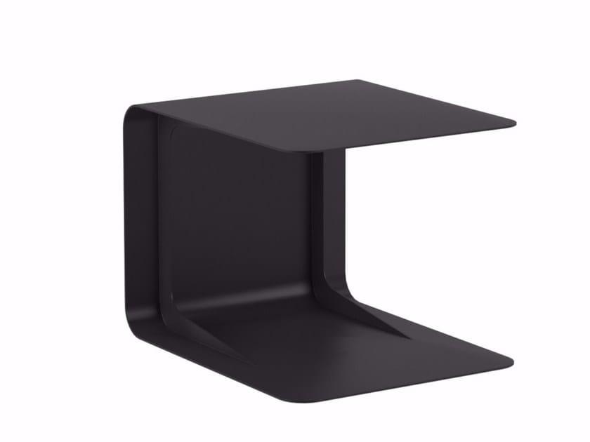 Low aluminium garden side table with integrated magazine rack FOLD | Garden side table - ROYAL BOTANIA