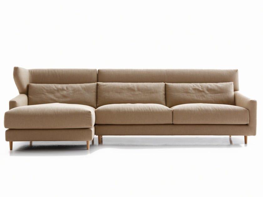 Fabric sofa with headrest FOLK | Sofa with chaise longue - SANCAL