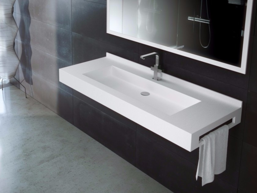 Rectangular wall-mounted Silexpol® washbasin with towel rail FONTANA FPCI06 by Fiora
