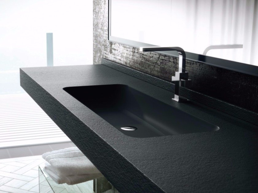 Rectangular wall-mounted Silexpol® washbasin with integrated countertop FONTANA ICPCIP06 - Fiora