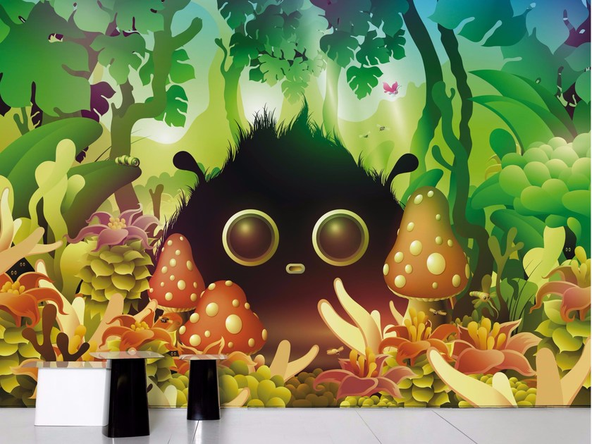 Panoramic non-woven paper wallpaper FOREST - Moustache
