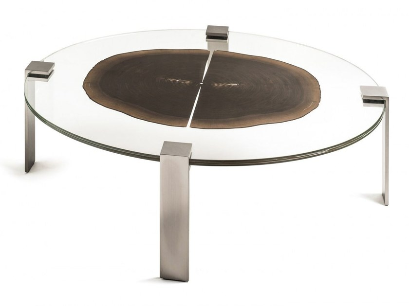 Oval wood and glass coffee table FORESTA | Oval coffee table - VGnewtrend