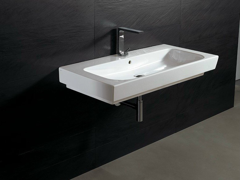 Rectangular ceramic washbasin FORM 100 | Washbasin - Alice Ceramica