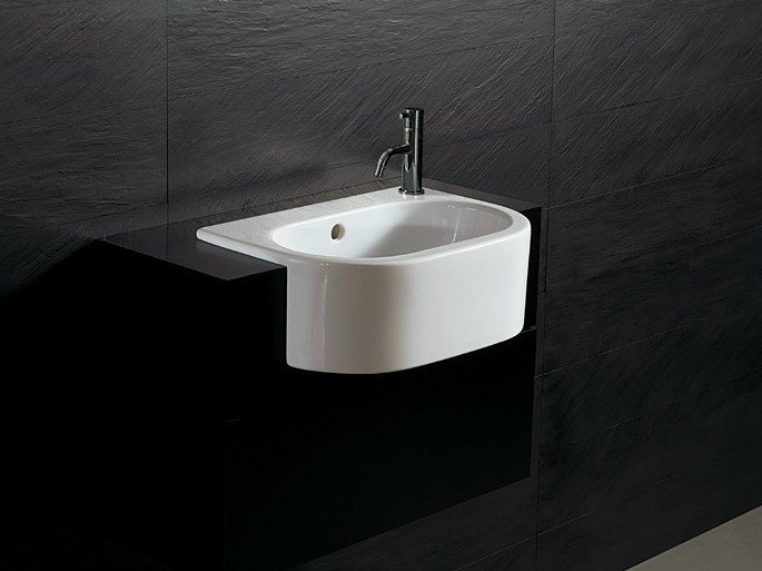Semi-inset ceramic washbasin FORM 46 | Semi-inset washbasin - Alice Ceramica