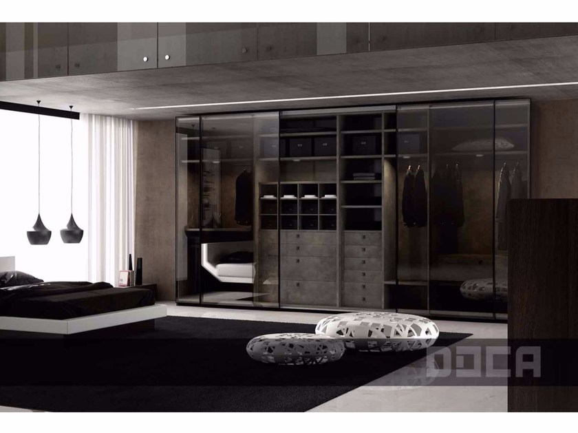 Glass wardrobe with sliding doors FORO REFLEX / FUSTE ROBLE OLD by Doca
