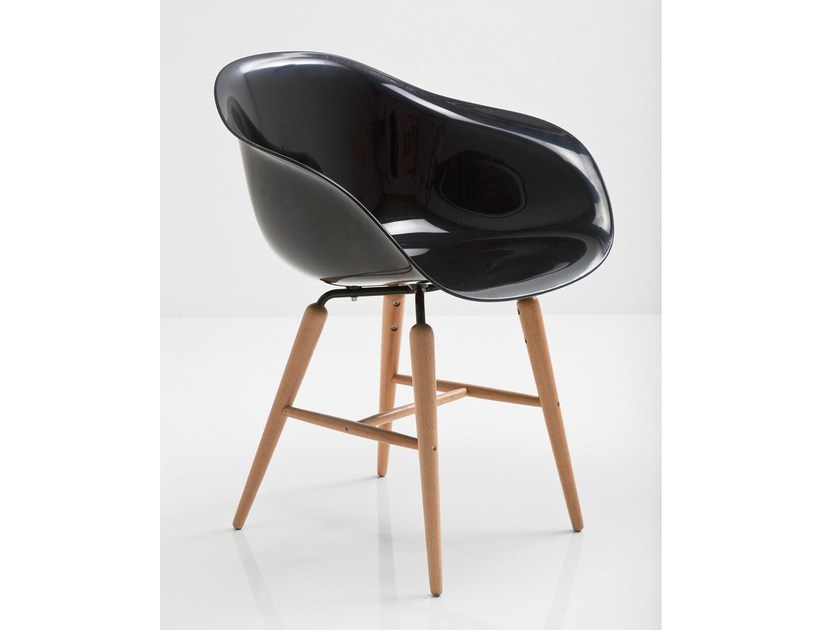 ABS easy chair with armrests FORUM WOOD BLACK by KARE-DESIGN