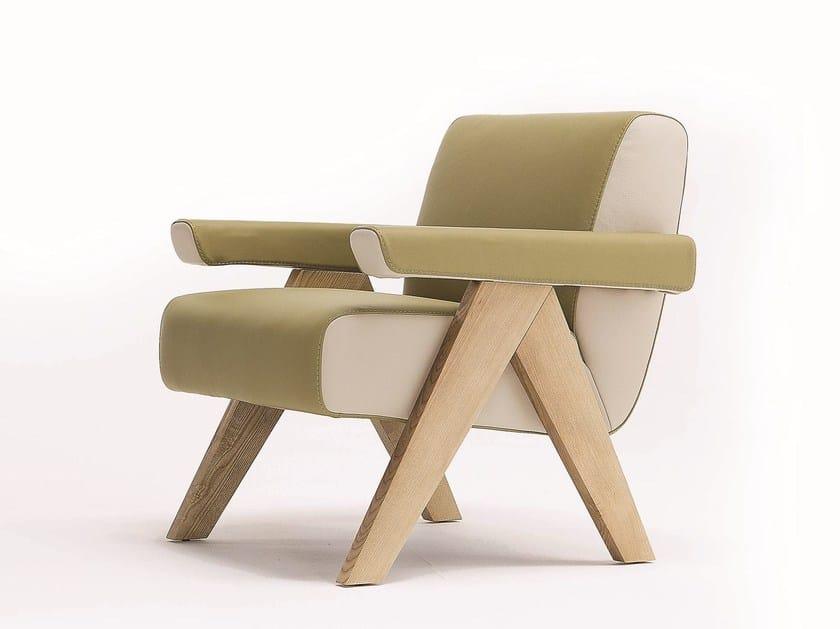 Upholstered leather armchair FRAM - Egoitaliano