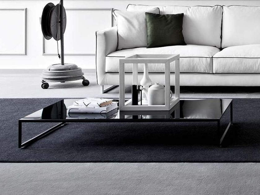 Low rectangular glass coffee table FRAME EVO | Coffee table - PIANCA