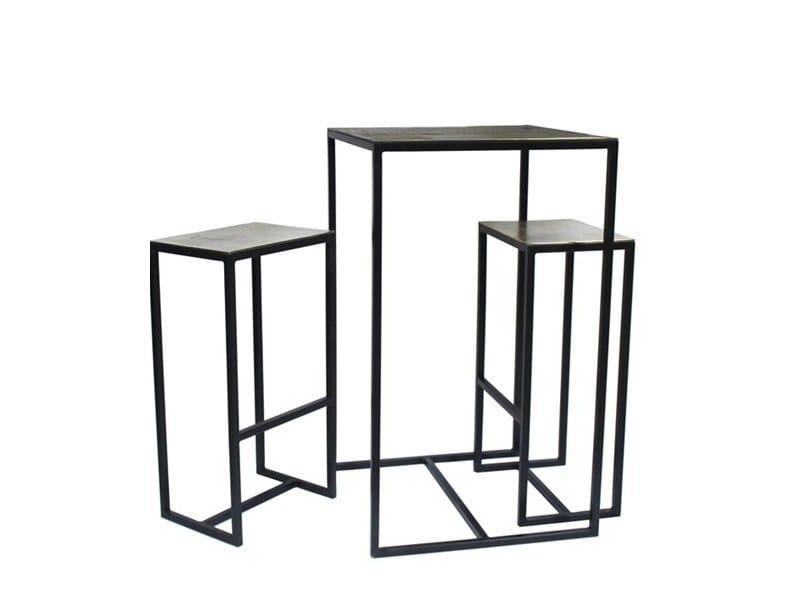 Tavolo alto quadrato in metallo con 2 sgabelli FRAME | Tavolo alto - Pols Potten