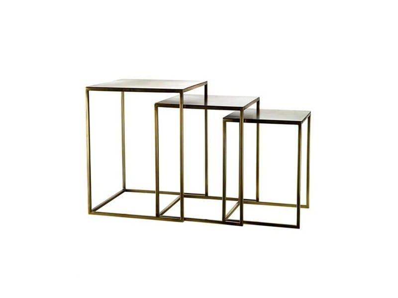 Metal coffee table FRAME SQUARE MATT GOLD - Pols Potten