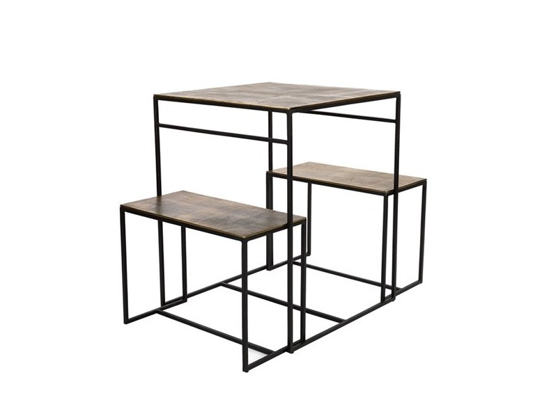 Square metal dining table with 2 benches FRAME | Square table - Pols Potten