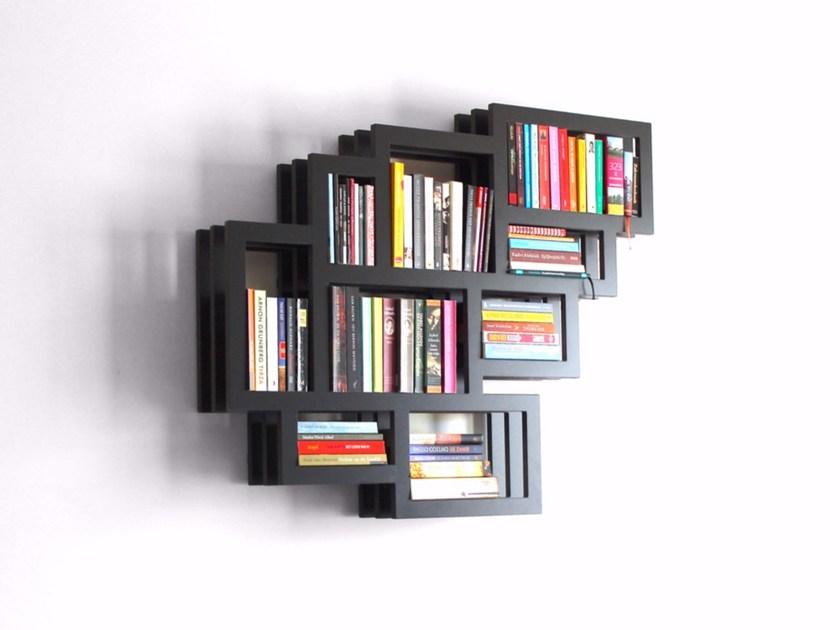 Wall-mounted lacquered MDF bookcase FRAMES WALL - Palau