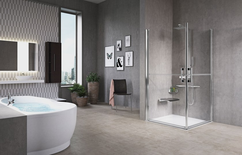 Contemporary style 2 places niche corner glass shower cabin FREE by NOVELLINI