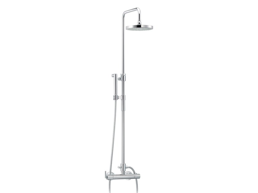 Wall-mounted shower panel with hand shower FUN | Thermostatic shower panel - rvb