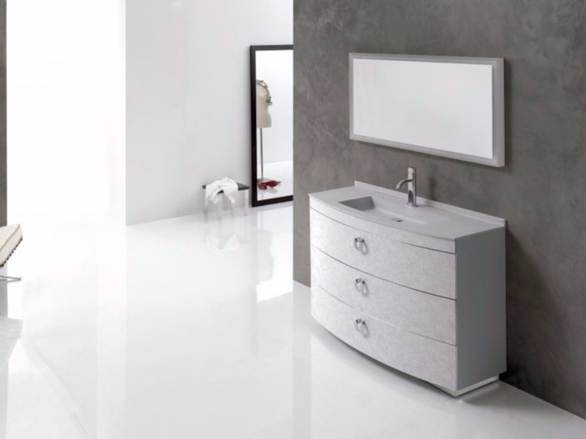 Single polyurethane vanity unit with drawers with mirror FUSSION NUBES 01 - Fiora