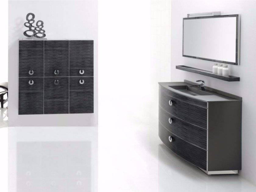 Single polyurethane vanity unit with drawers FUSSION ONDAS 02 by Fiora