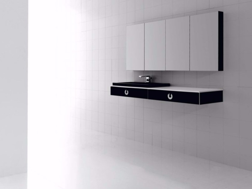 Wall-mounted polyurethane vanity unit with drawers with mirror FUSSION PLANO 01 - Fiora