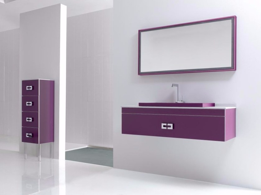 Wall-mounted polyurethane vanity unit with drawers with mirror FUSSION PLANO 02 - Fiora