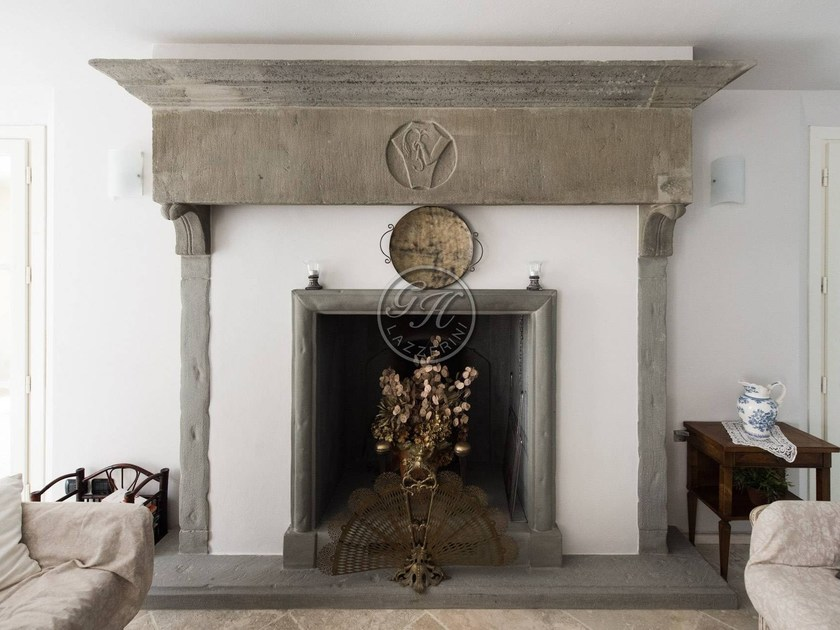 Wall-mounted natural stone fireplace Fireplace 12 by GH LAZZERINI
