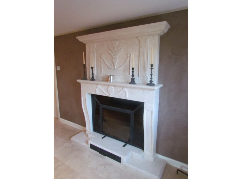 Wall-mounted natural stone fireplace Fireplace 18 by GH LAZZERINI