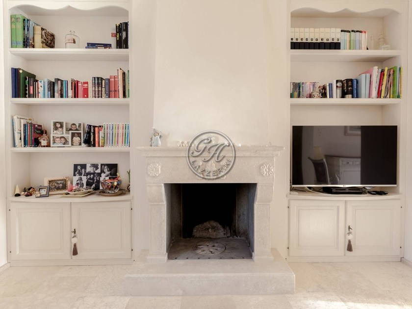 Wall-mounted natural stone fireplace Fireplace 8 by GH LAZZERINI