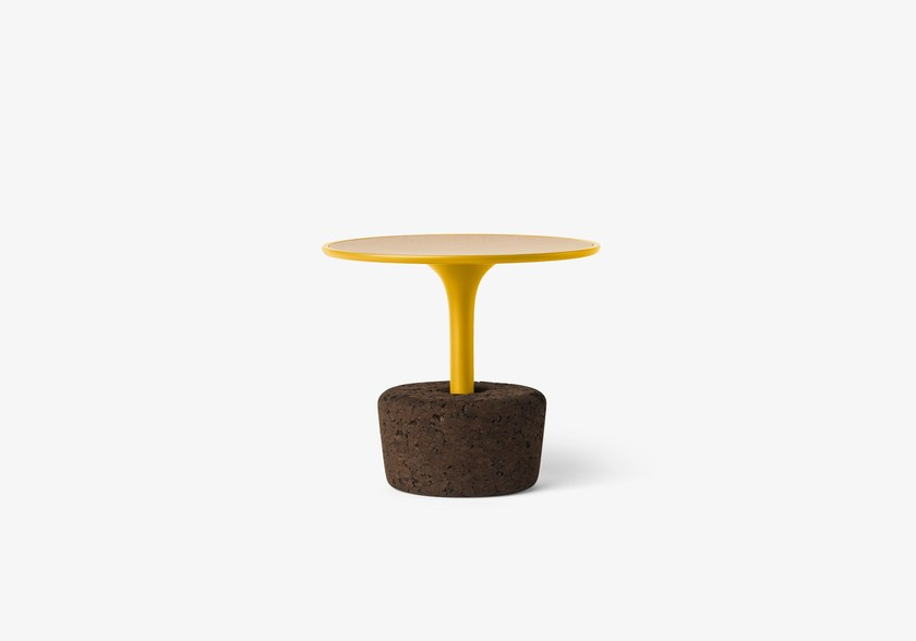 Round wooden coffee table Flora Small Low / dry yellow by DAM