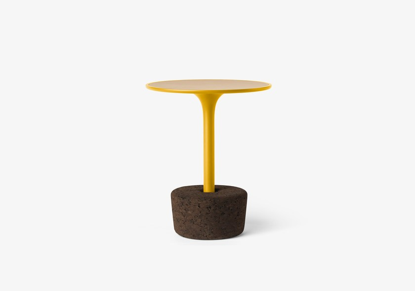 Round wooden coffee table Flora Small Tall / dry yellow by DAM