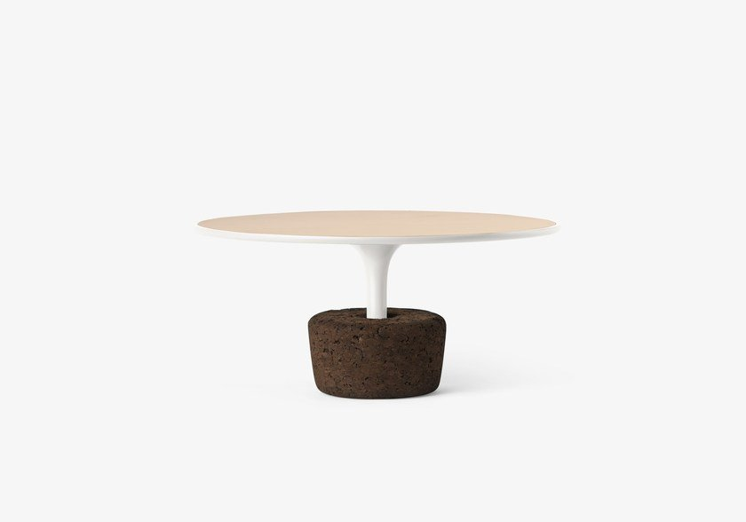 Round wooden coffee table Flora Wide Low / cold white by DAM