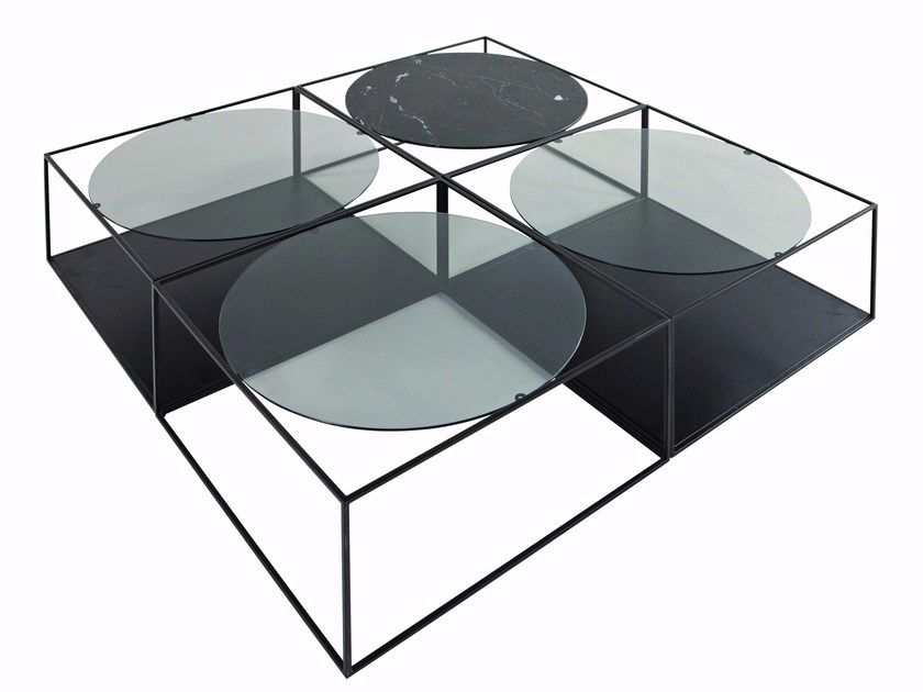 Square metal coffee table with integrated magazine rack for living room G3 by ROCHE BOBOIS