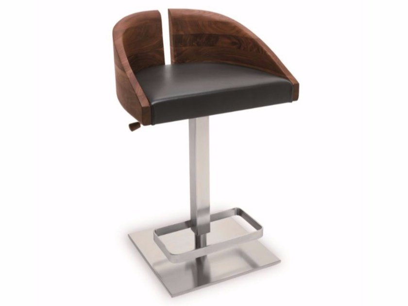 Height-adjustable wooden stool GALA | Stool by Riva 1920