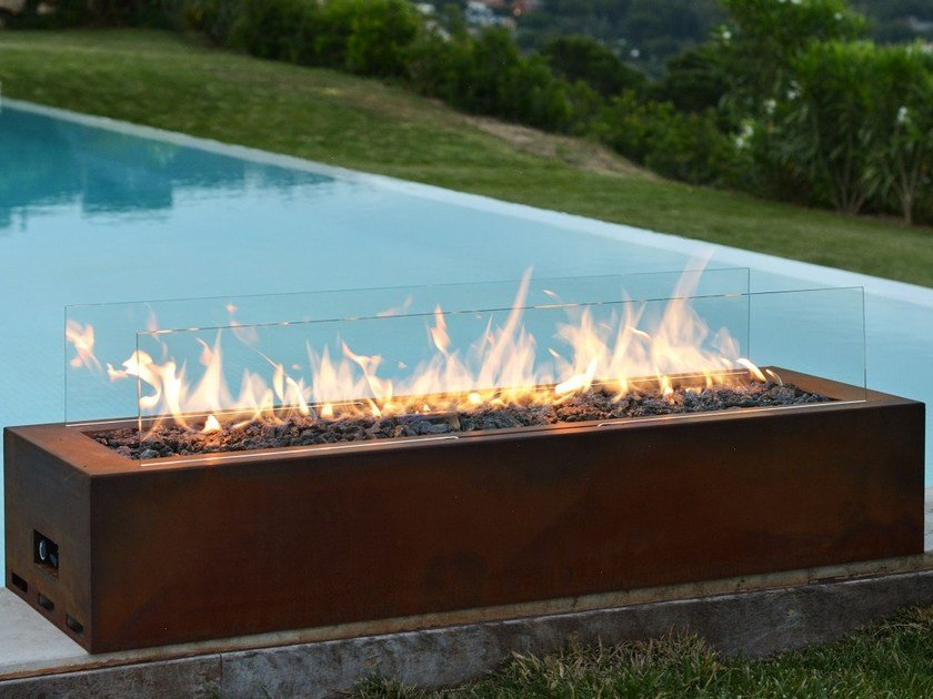 Gas outdoor fireplace GALIO CORTEN by Planika
