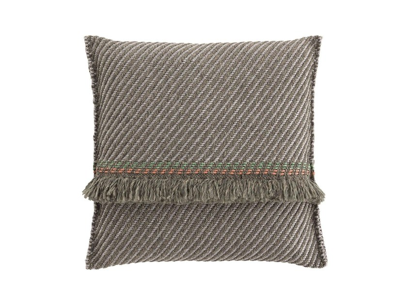 Striped square outdoor polypropylene cushion GARDEN LAYERS GREEN | Square cushion by GAN
