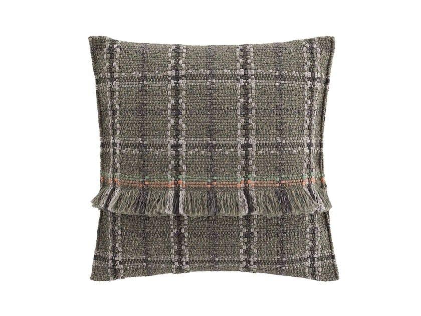 Square tartan outdoor polypropylene cushion GARDEN LAYERS GREEN | Square cushion by GAN