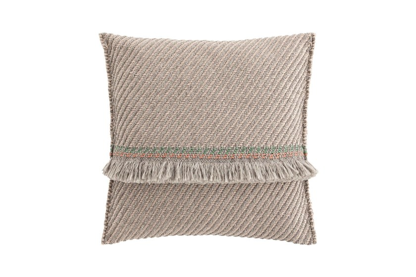 Striped square outdoor polypropylene cushion GARDEN LAYERS TERRACOTTA | Square cushion by GAN