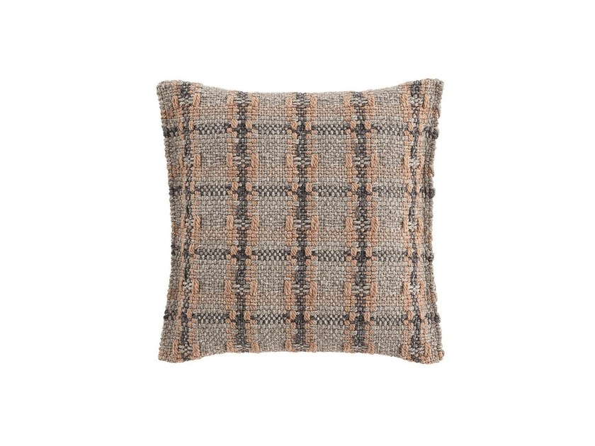 Contemporary style check outdoor synthetic fibre floor cushion GARDEN LAYERS TERRACOTTA | Square cushion by GAN