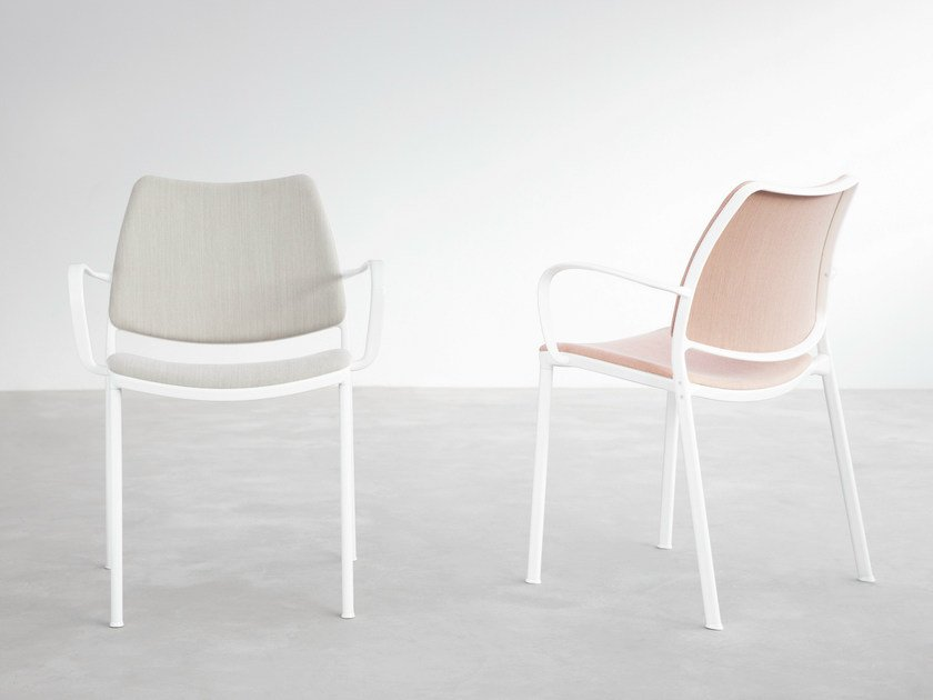 Upholstered fabric chair with armrests GAS   Chair with armrests - STUA