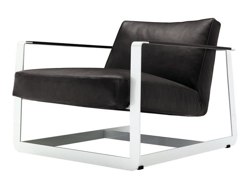 Sled base leather armchair with armrests GASTON - Poliform
