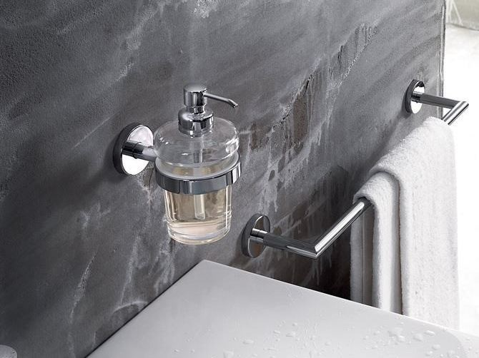 Wall-mounted glass liquid soap dispenser GEALUNA | Liquid soap dispenser - INDA®