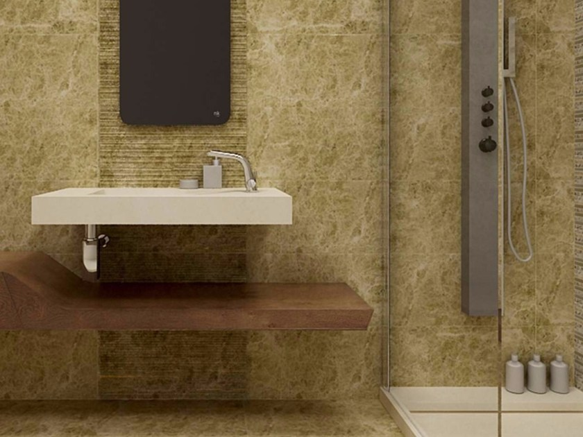 Rectangular wall-mounted natural stone washbasin GEISHA by L'antic Colonial